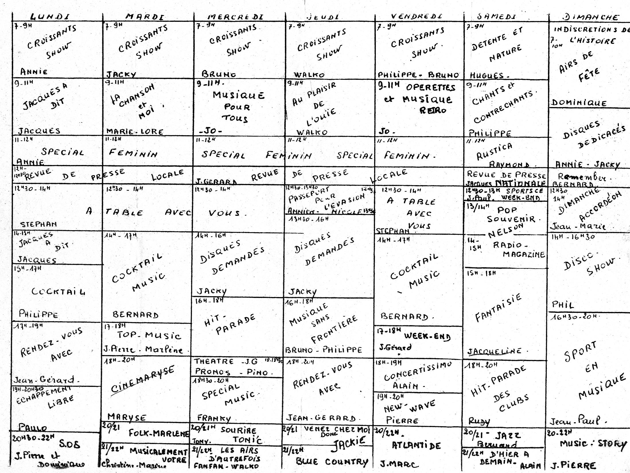 grille des programmes 1 de radio artois 2000